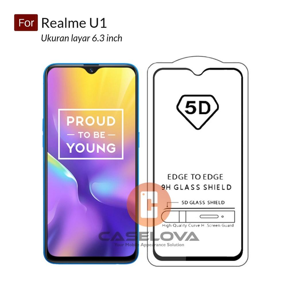 Premium 5D Full Cover Tempered Glass Warna For Oppo Realme U1 ( 6 3 inch )