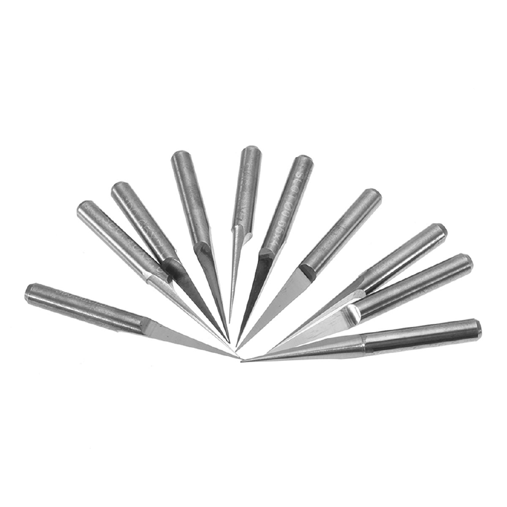 10pcs PCB CNC Engraving Bits CNC  Tool Bits for metal 15degree 0.1mm milling cut