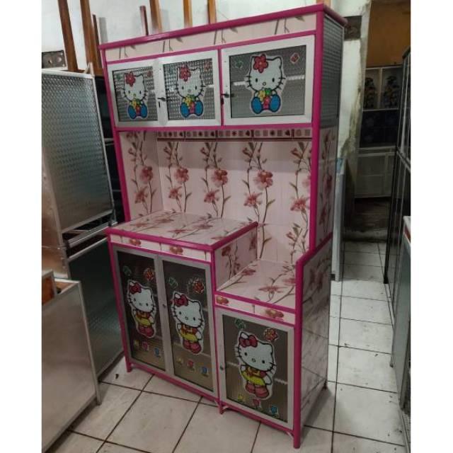 Rak Piring 3 Pintu Warna Full Stiker Hello Kitty Super Alumunium Keramik Shopee Indonesia