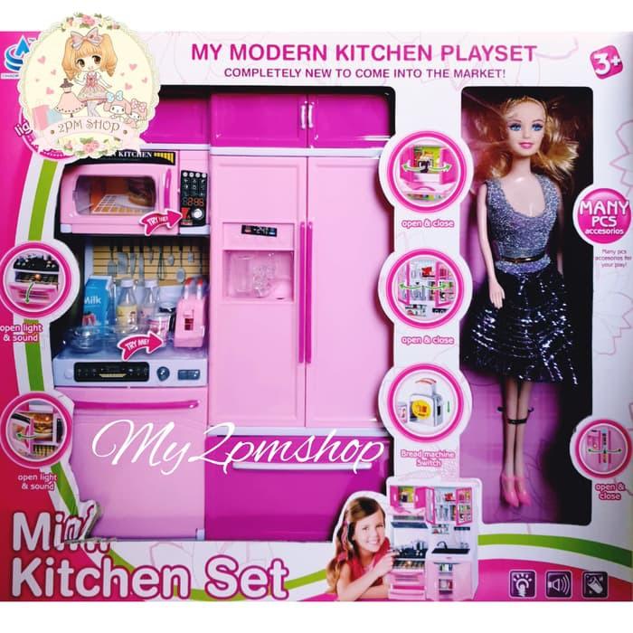 Mini Kitchen Set Barbie Mainan Anak Perempuan Kado Ultah Shopee Indonesia