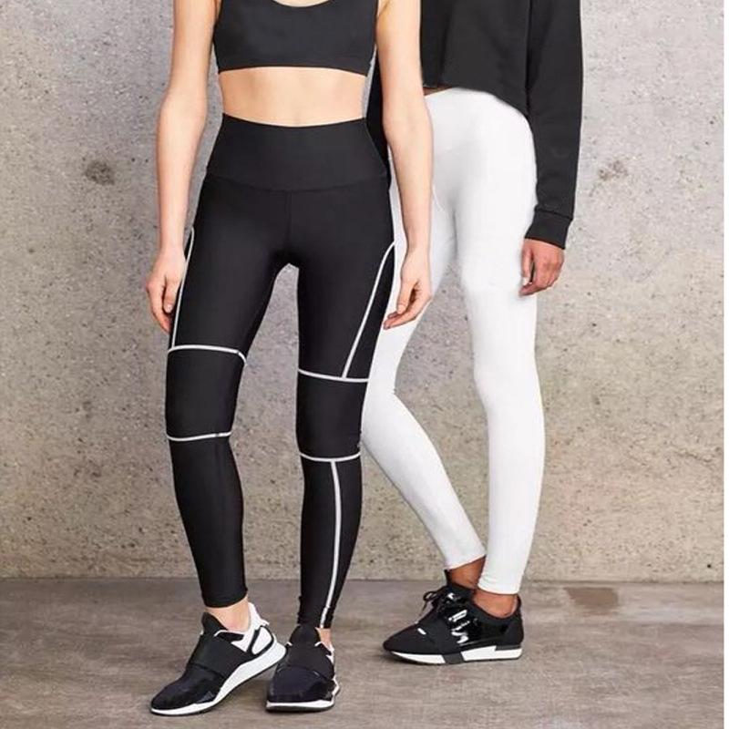 Celana Legging Wanita Dengan Model Potongan Skinny Dan Motif Garis Garis Warna Hitam Putih Shopee Indonesia