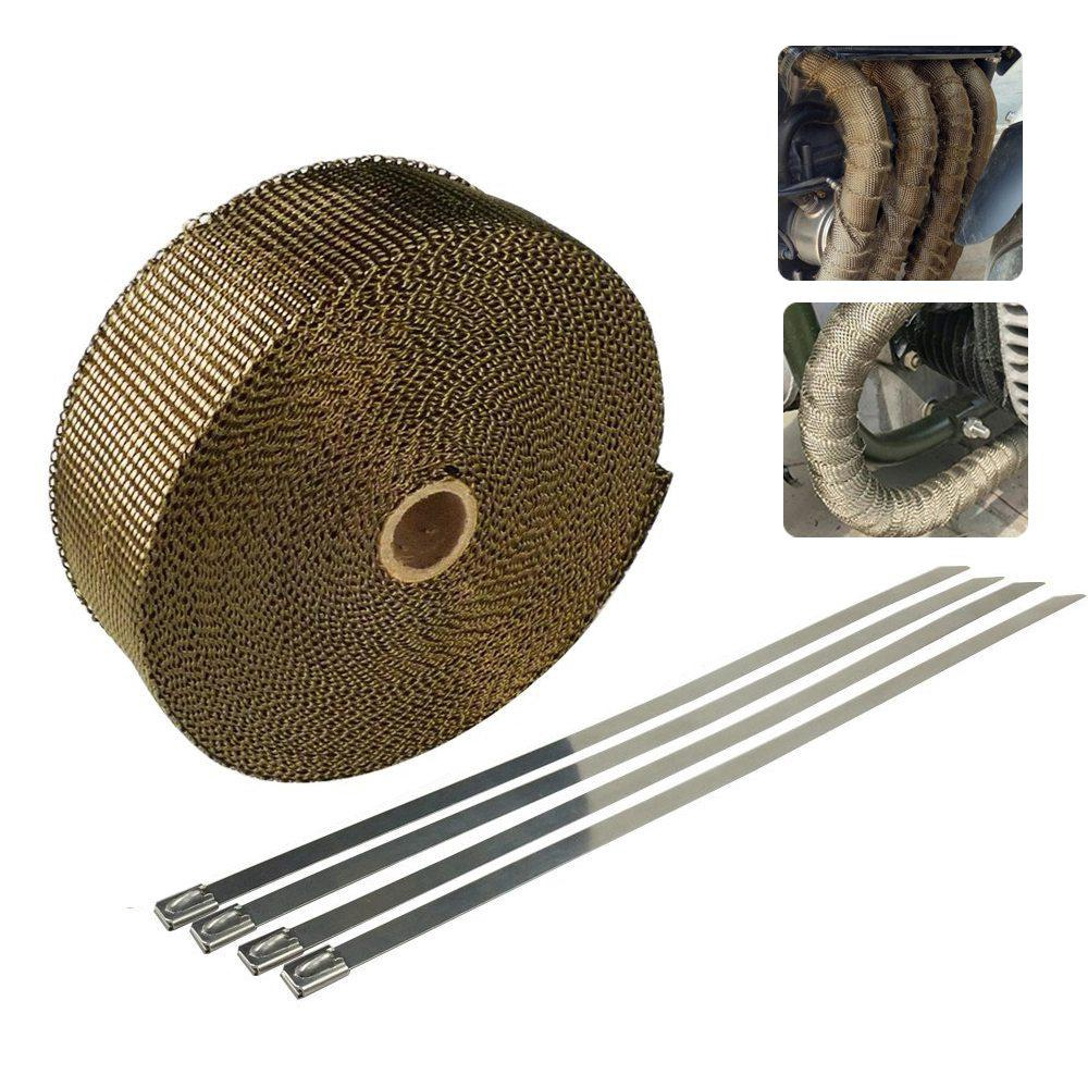 Exhaust Heat Wrap >> 5m Titanium Exhaust Heat Wrap For Motorcycle Fiberglass Heat Shield Tape With 4pcs Stainless Ties