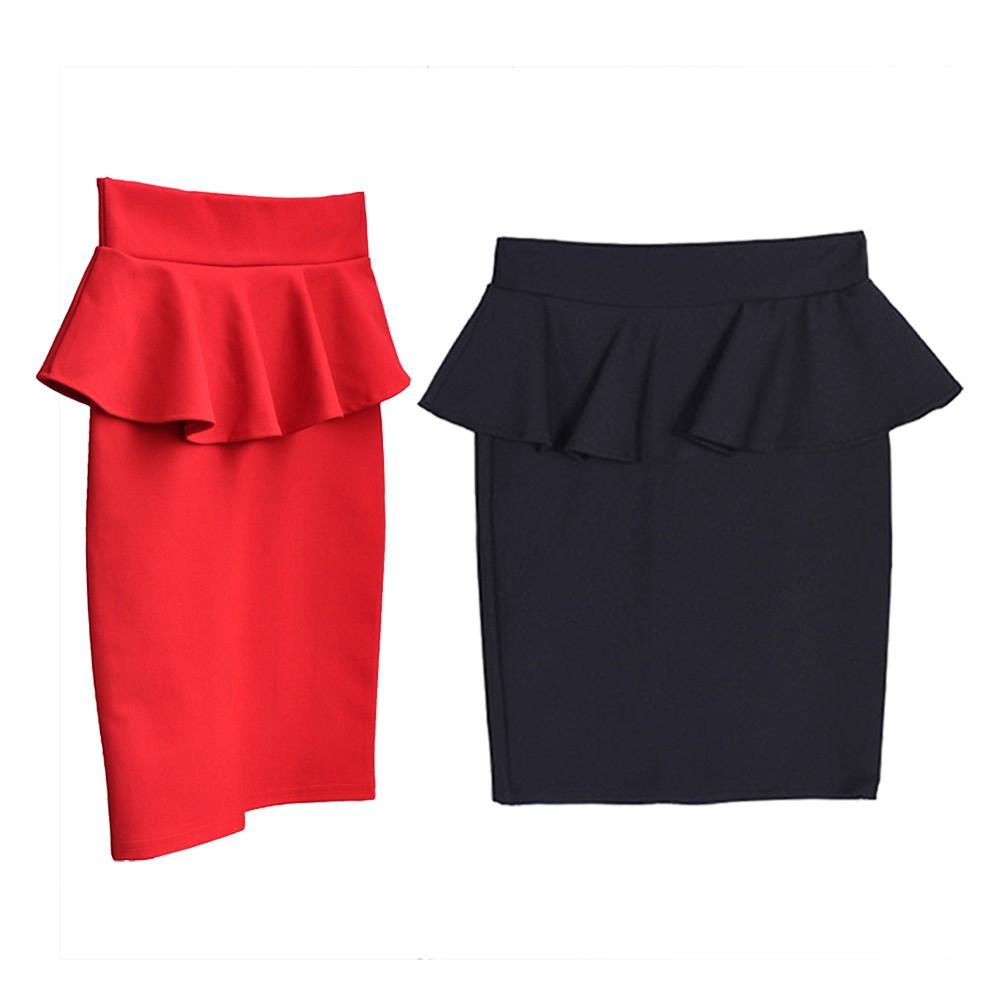MT New Elegant Women Ruffle Pencil Skirt Summer Casual Elegant   Shopee Indonesia