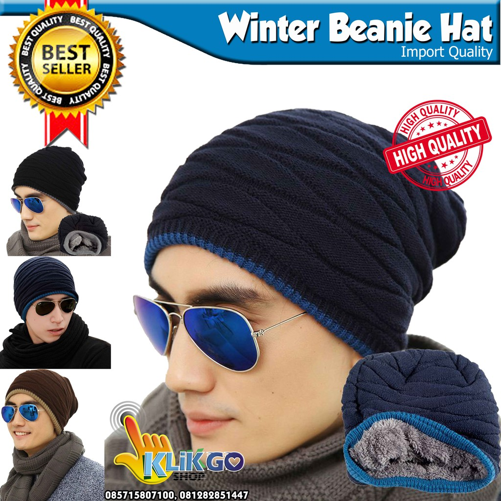 Topi Beanie Winter Hat Kupluk Casual Fashion Import 02  90fdc6f092