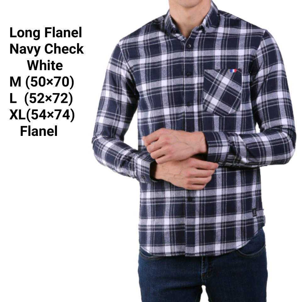 Long Flanel Navy Check White Shopee Indonesia