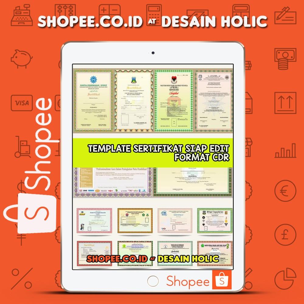Koleksi Template Desain Sertifikat Format Cdr Shopee