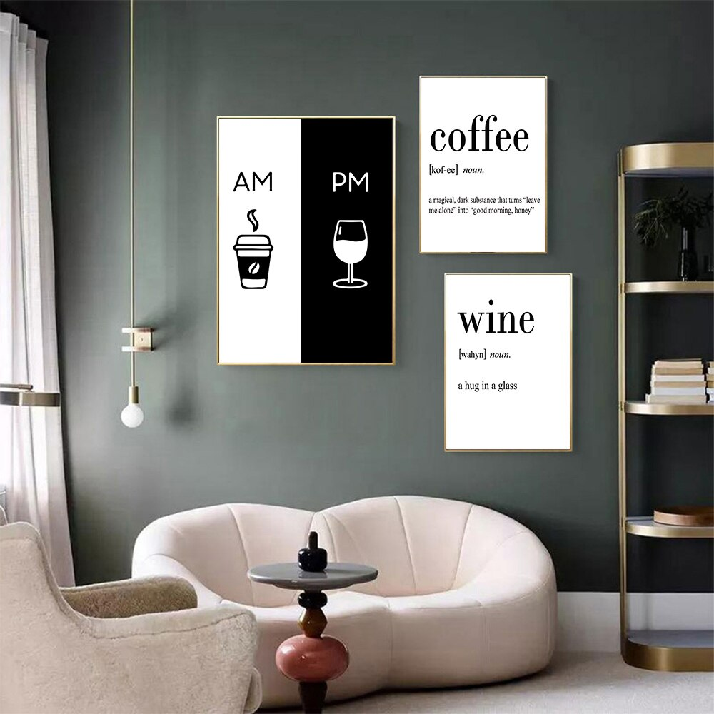 Black And White Poster Coffee Wine Wall Art Prints Minimalist Canvas Pictures Coffee Shop Living Room Wall Decor Unframed Shopee Indonesia