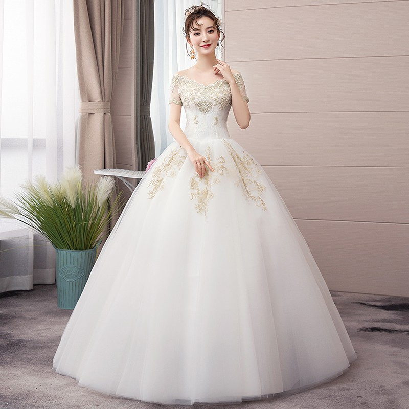 Elegant Off White Off Shoulder Lace Embroidery Wedding Party Ball Gown Dress Shopee Indonesia