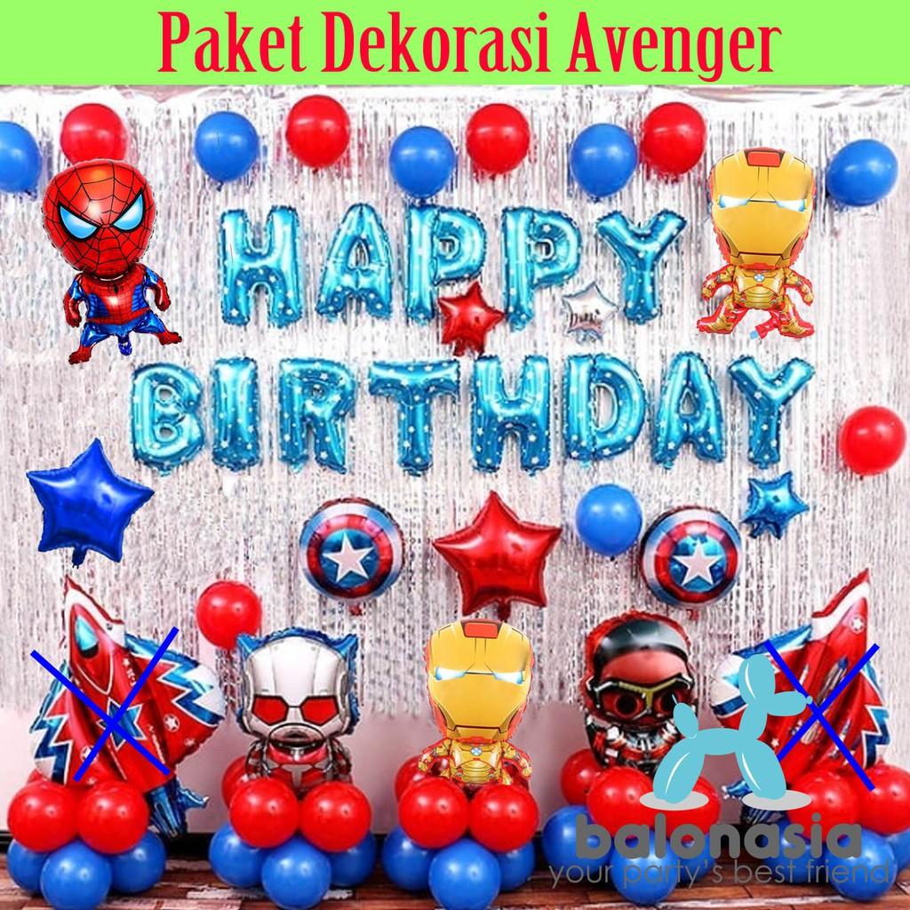 Balonasia Paket Dekorasi Backdrop Ulang Tahun Tema Avenger Lengkap Shopee Indonesia Tema ulang tahun anak