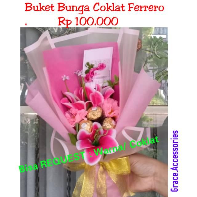 Buket Bucket Coklat Ferrero Ferero Bunga Kado Hadiah Wisuda Ulangtahun Pacar Wanita Murah Shopee Indonesia