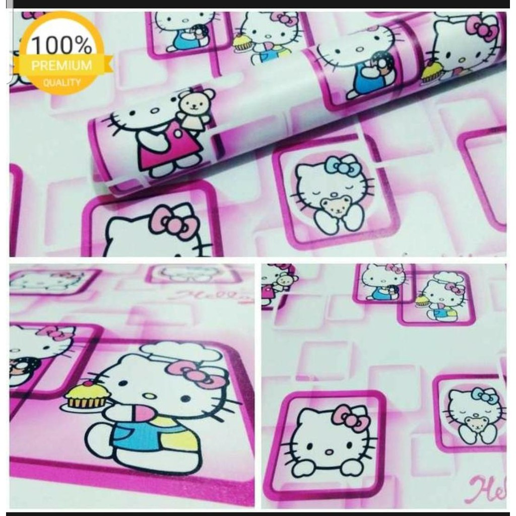 Sticker Wallpaper Walpaper Sticker Dinding Motif Nature DLL Hello Kitty Kotak Ungu
