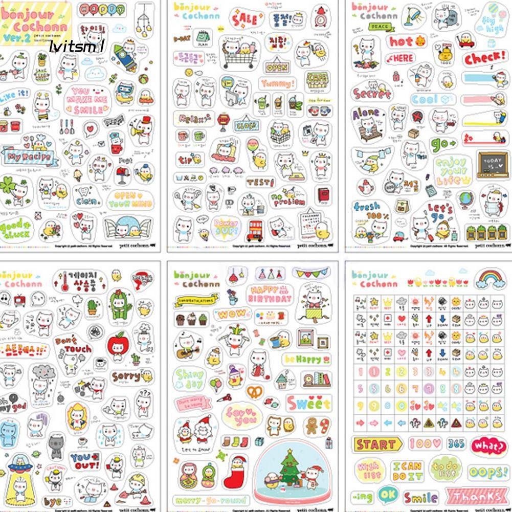 6 Sheets Cute Pig Scrapbook Diary Calendar Planner Decorative Paper Stickers