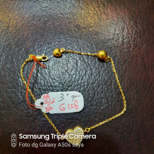 gelang emas rante motif hati  3 gram