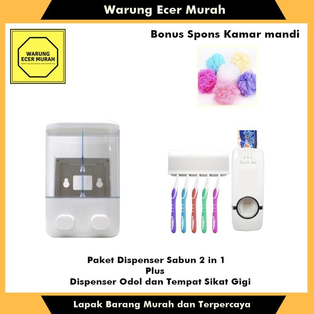 [PROMO] Paket Dispenser Sabun dan Dispenser Odol Plus Bonus Spon Mandi | Shopee Indonesia