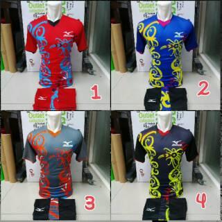 Setelan Mizuno Januari 2019 Motif Bunga Baju Kaos Olahraga Jersey Bola Setelan Futsal / Volly