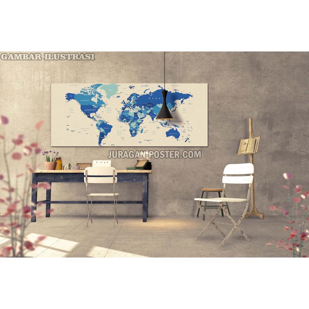 Poster Peta Dunia Ukuran Besar 050 125x255cm Bahan PET Tanpa Bingkai
