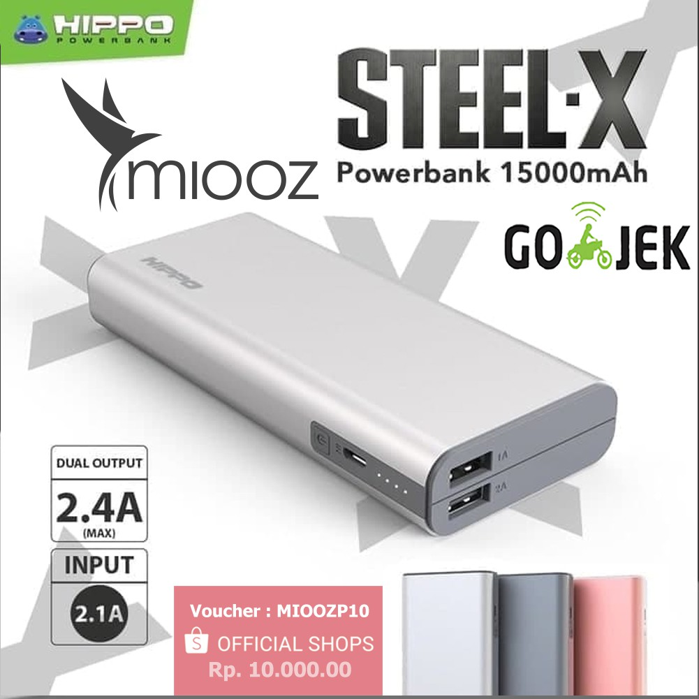 Hippo Power Bank Bronz X 12500mah Metal Design 12500 Mah Powerbank 15000 Garansi Resmi Grey Original Ori Hipo Bronzx Shopee Indonesia
