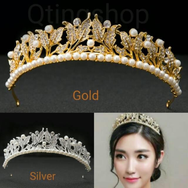 Mahkota Rambut Crystal Silver - Tiara Wedding - Crown Rambut Pesta Pengantin QA9803 | Shopee Indonesia