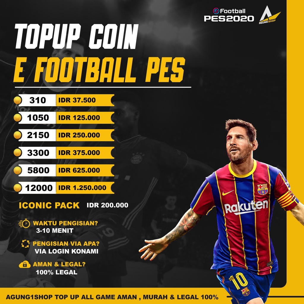 [PROMO] TOP UP COIN E FOOTBAL PES 2021 TERMURAH VIA LOGIN LEGAL 100%