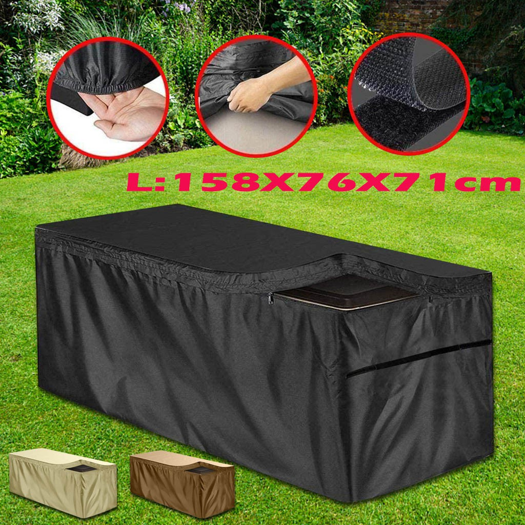 Outdoor Storage Container Cover with zipper 210D Waterproof UV Protection Deck Boxes Case Protector Deck Box Cover,Patio Deck Box Cover Garden Storage Box Cover