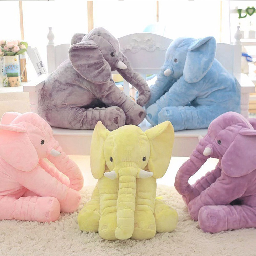 Long Nose Elephant Baby Stuff Toy Kids Doll Pillow Soft Plush Lumbar Pillow