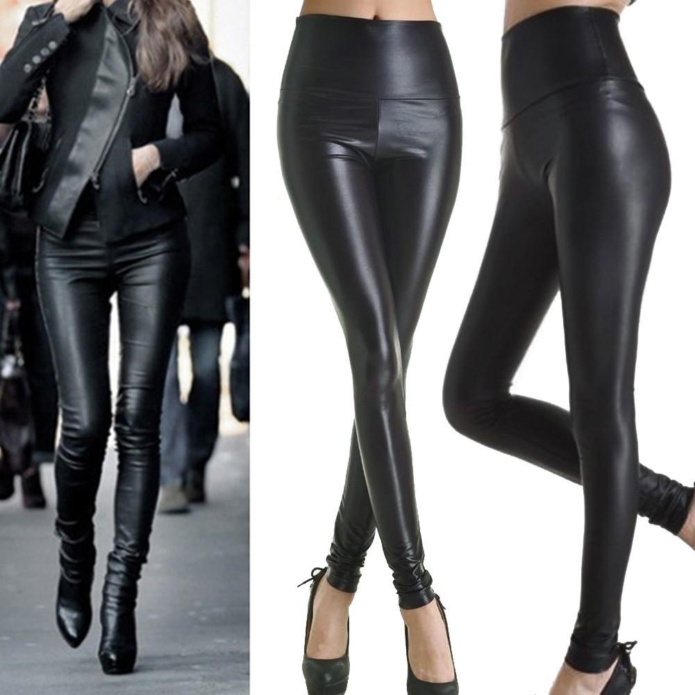 Fashion Wanita Celana Panjang Legging High Waist Bahan Kulit Stretch Slim Shopee Indonesia