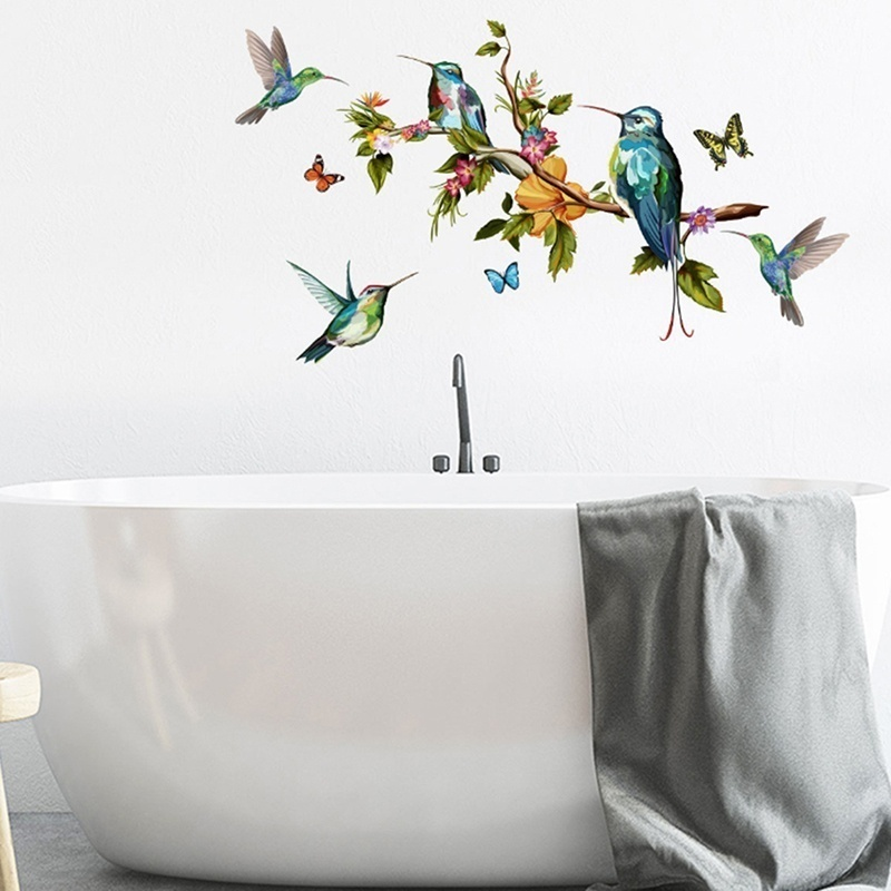 Wall Sticker Home Color Butterfly Tree Branch Bird Wall Stickers Living Room Tv Background Wall Decorative Wall Stickers Shopee Indonesia