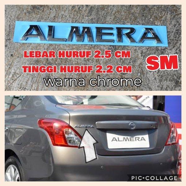 emblem tulisan ALMERA emblem bagasi nissan almera
