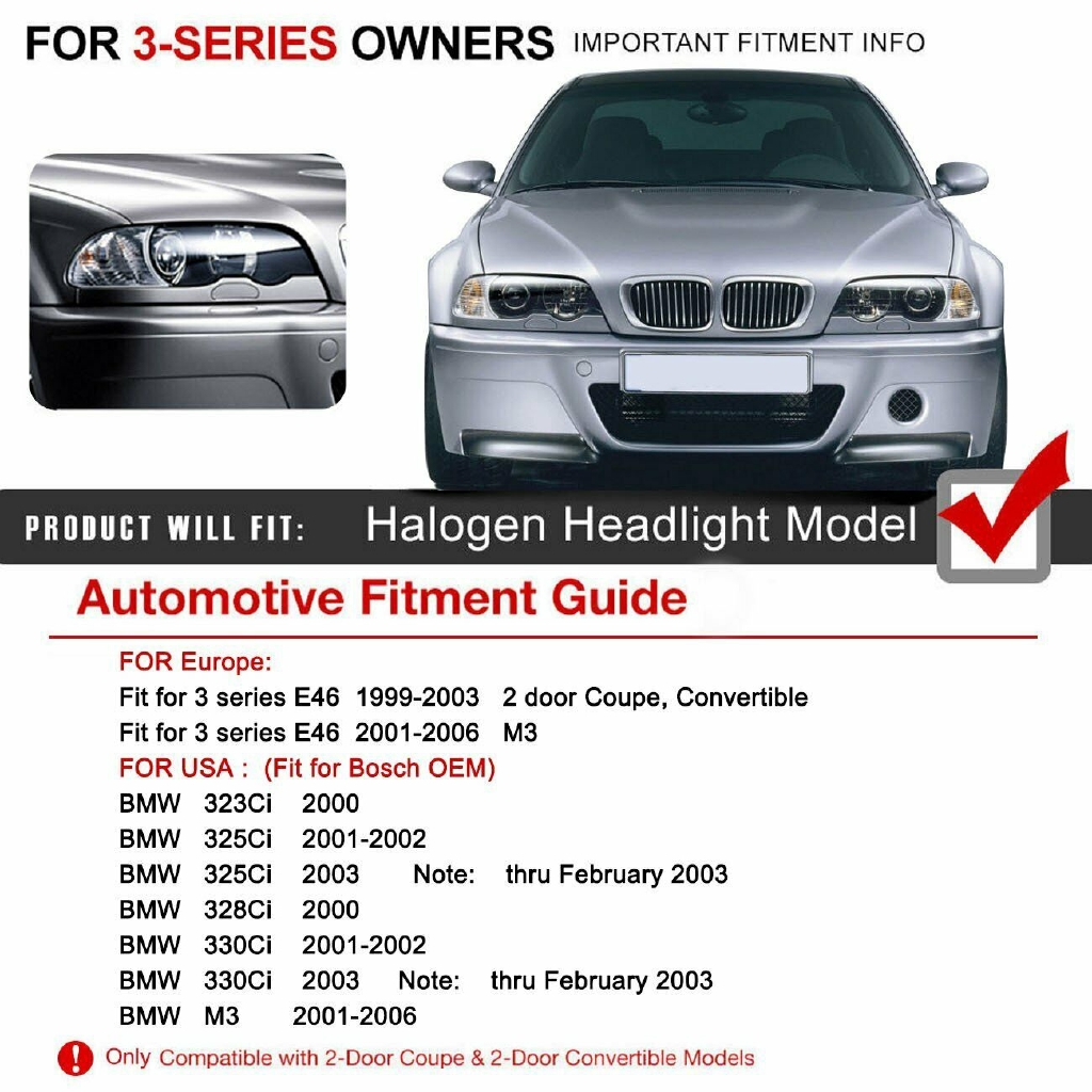 1 Pair Left And Right Headlight Lens Cover For Bmw E46 3 Series Shopee Indonesia