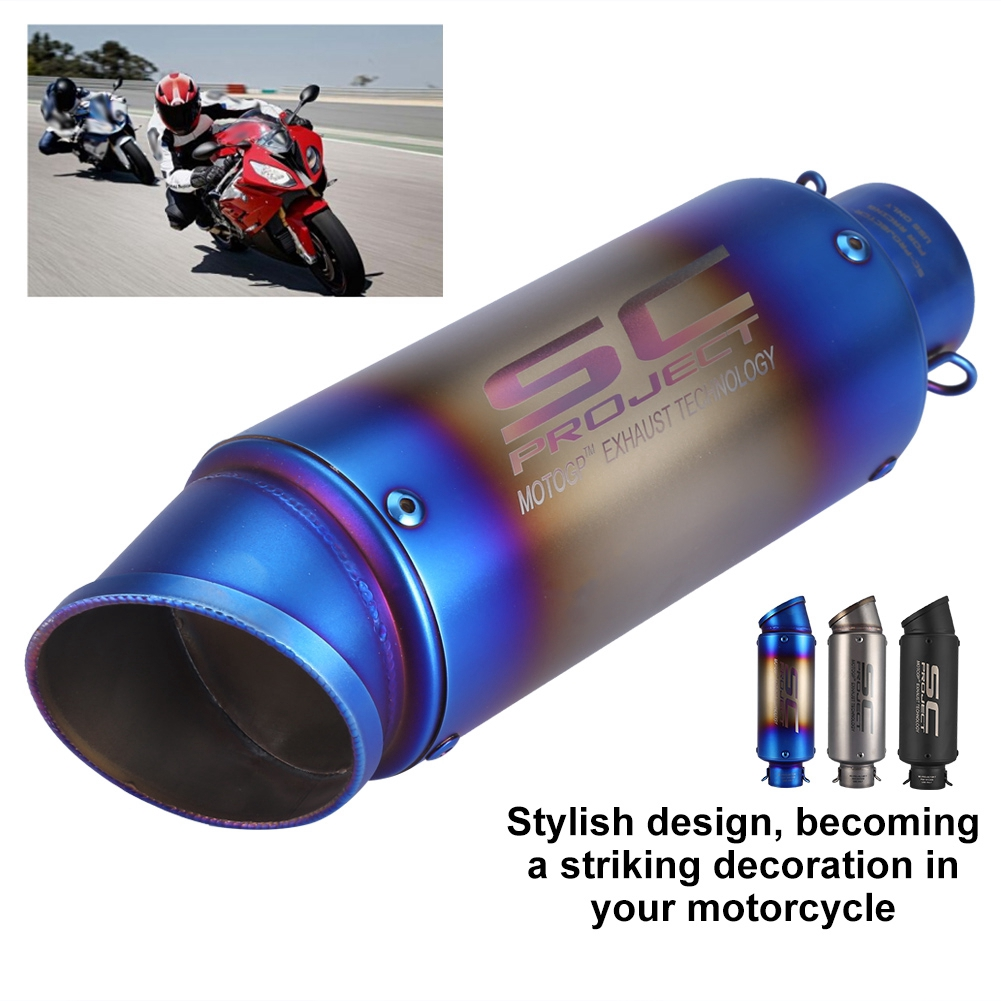 #1 Motorcycle Oblique Universal 51mm Slip on Exhaust Muffler Rear Pipe Tailpipe