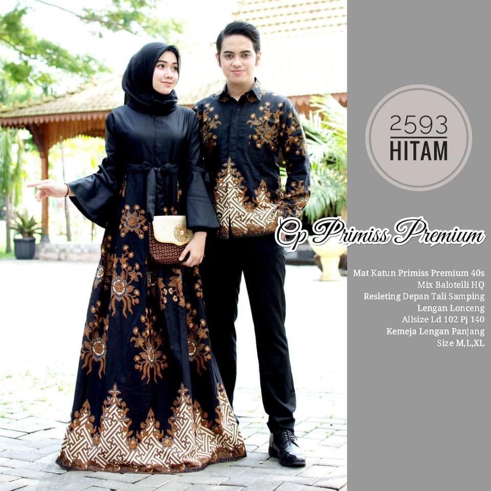 Model Baju Gamis Batik Couple 2593 Terbaru