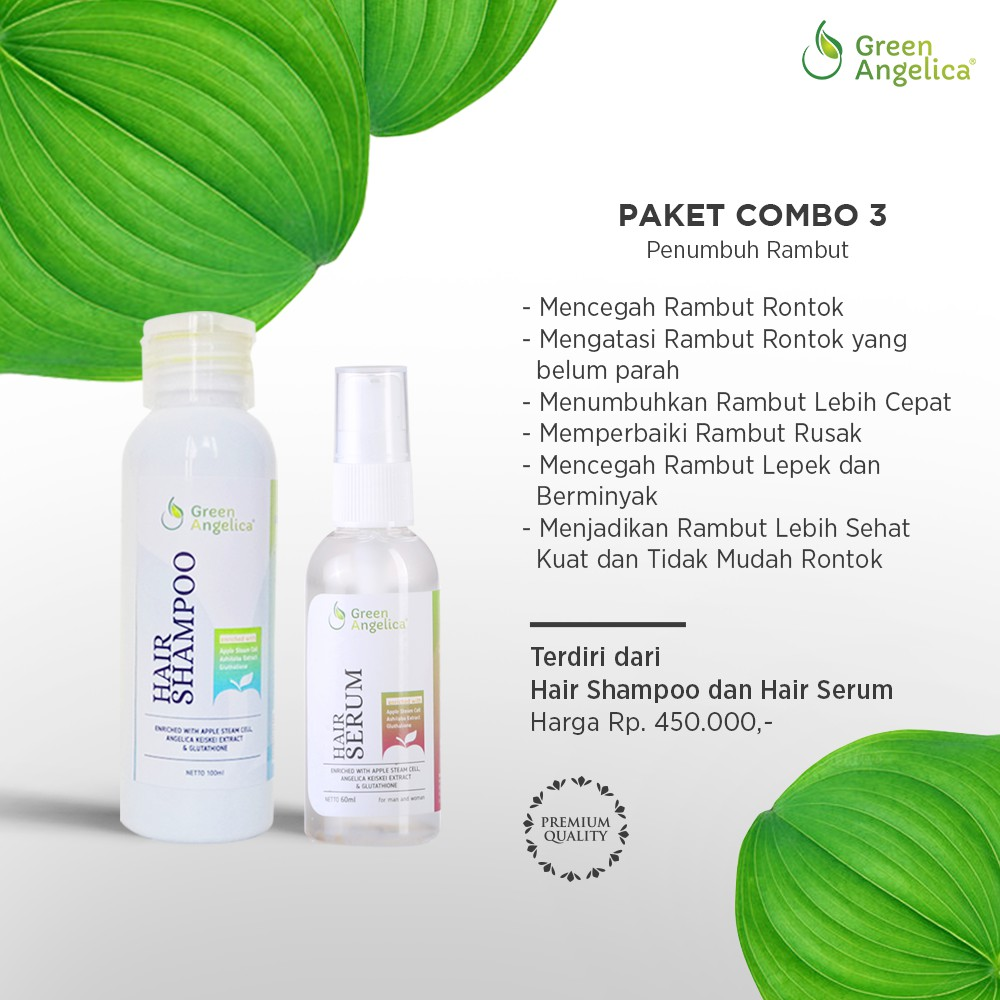 Shampo Penumbuh Rambut Cepat herbal alami tanpa efek samping Green Angelica   3d22c88728