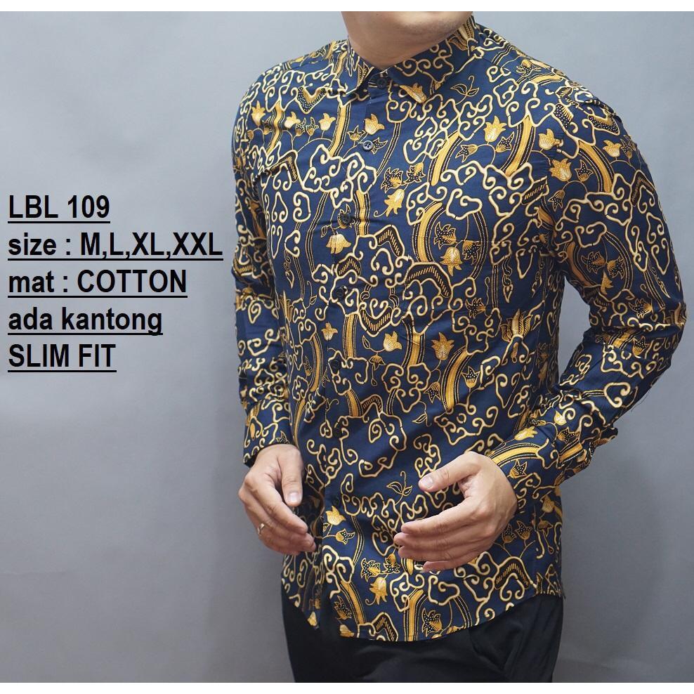 Batik Pria Kemeja Dewasa Lengan Panjang Slim Fit Motif Kekinian Lbl 109