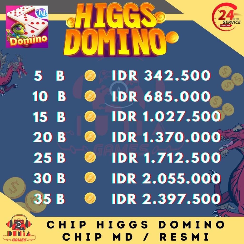 Higgs Domino MD Ungu Promo - Top Up CHip Higgs Domino Aman Resmi - Chip Ungu Hoki Jackpot