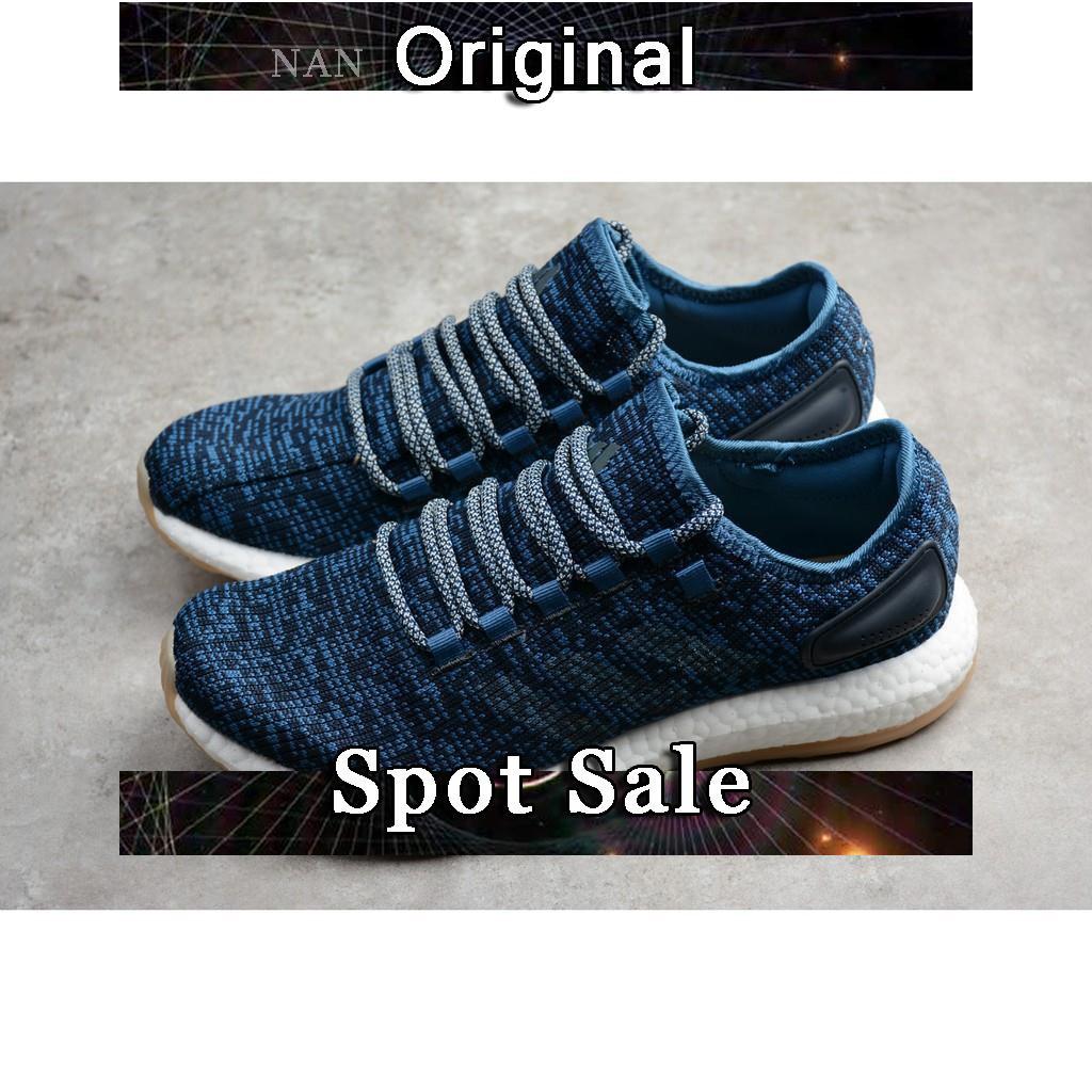 19c6b9c2883fc Sepatu Lari Desain Adidas Pure Boost Bahan Mesh Breathable Warna Biru Ukuran  40-44