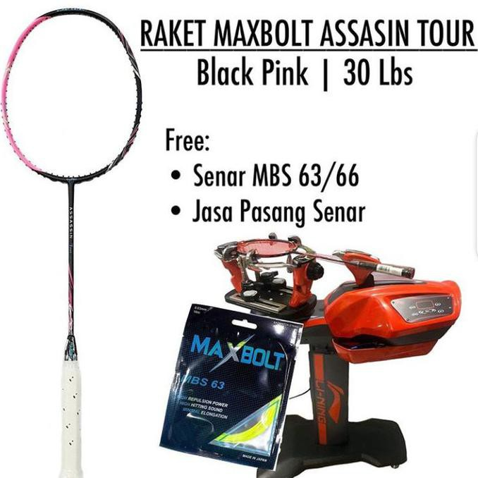 Buruan Serbu] Raket Maxbolt Assasin Tour Black Pink Raket Original Badminton Maxbolt