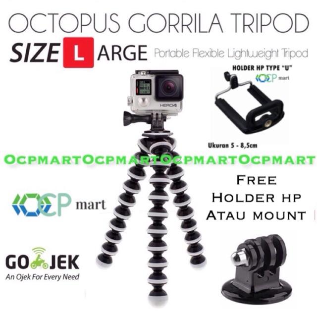 Octopus Gorilla MEDIUM SIZE Tripod With Mount for Action Cam Xiaomi Yi , BRICA B-PRO5 AE AP, etc | Shopee Indonesia