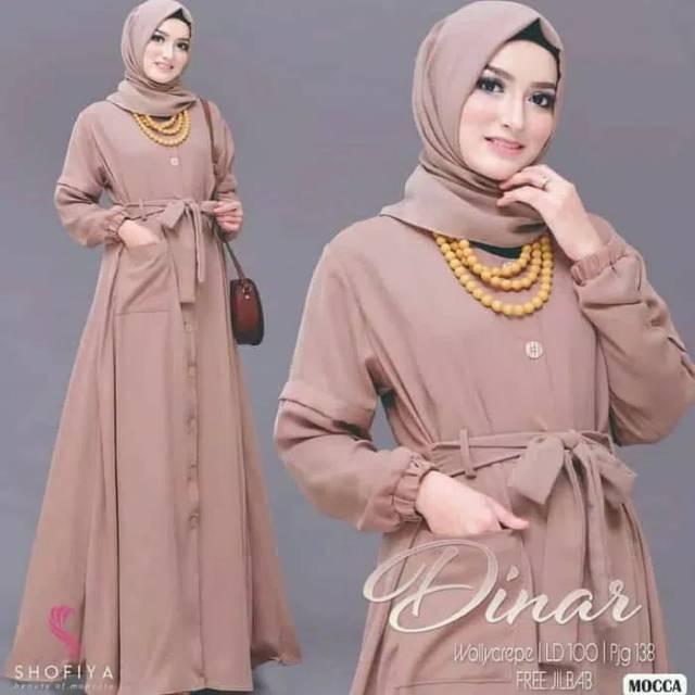 Dinar Gamis Syari Hijab Pashmina Baju Muslim Setelan Pakaian Wanita Bisa Ukuran Jumbo Besar Big Size Shopee Indonesia