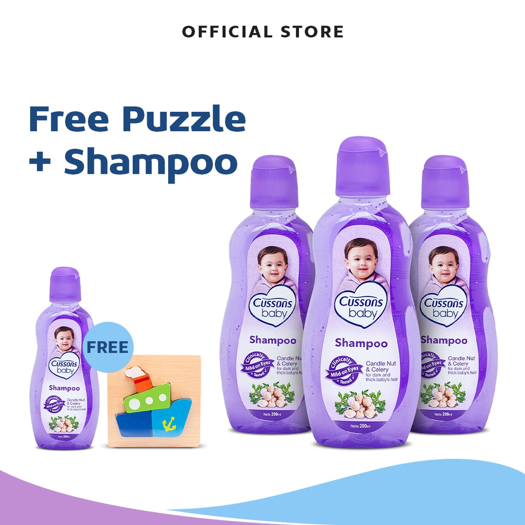 Cussons Baby Shampoo Candle Nut & Celery Pack - Beli 3 GRATIS 1