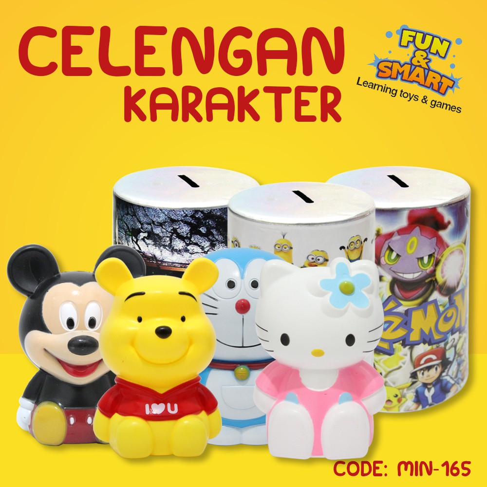 Celengan Karakter Hello Kitty Doraemon Kaleng Tabung Unik Atm Hellokitty Pink Murah Animal Coin Min 165 Shopee Indonesia