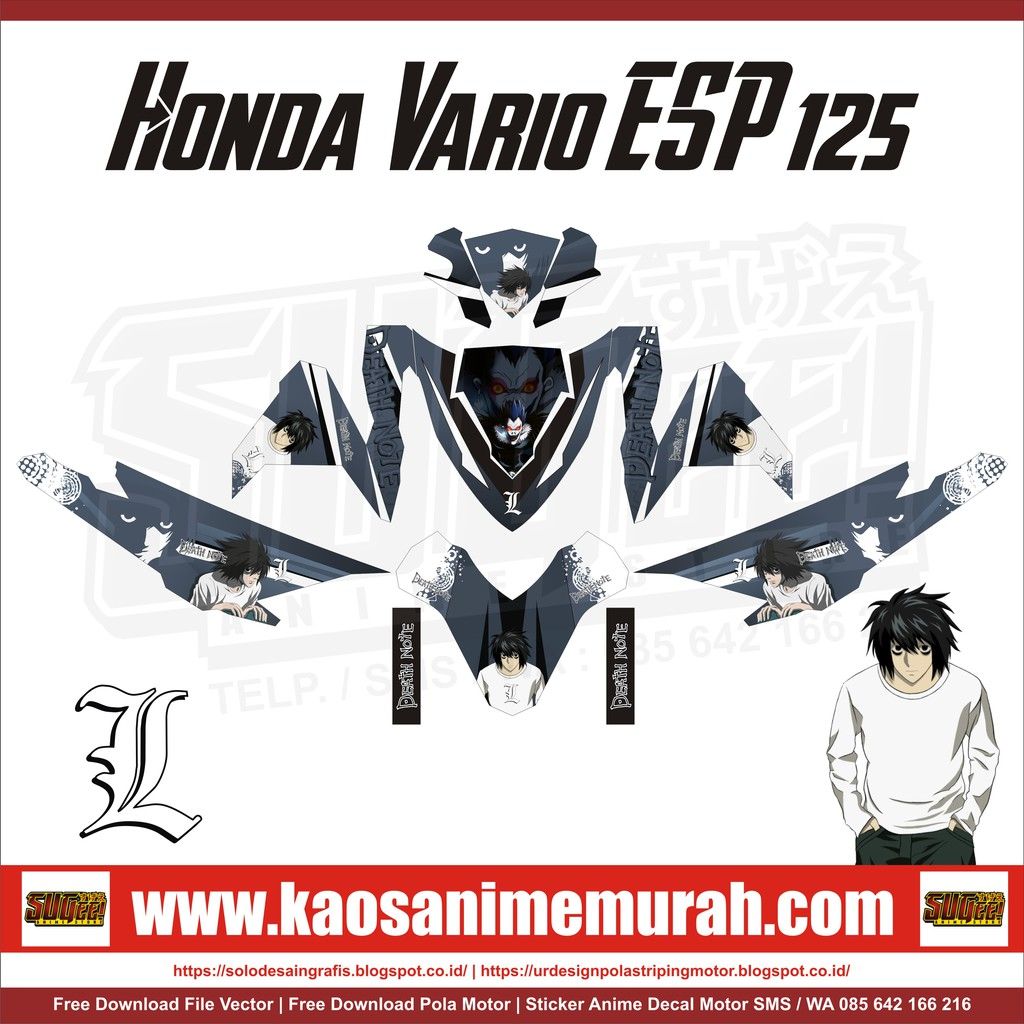 Sticker anime decal motor honda vario esp 125 l death note shopee indonesia