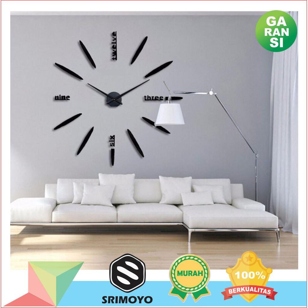 Jam Dinding Tempel 130 cm 3D - Jam Dinding Besar DIY - Giant Wall Clock Unik