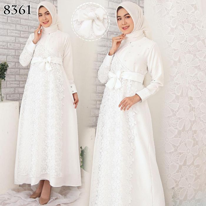 Gamis Putih Gamis Brukat Brokat Gamis Polos 8361 Putih Shopee Indonesia