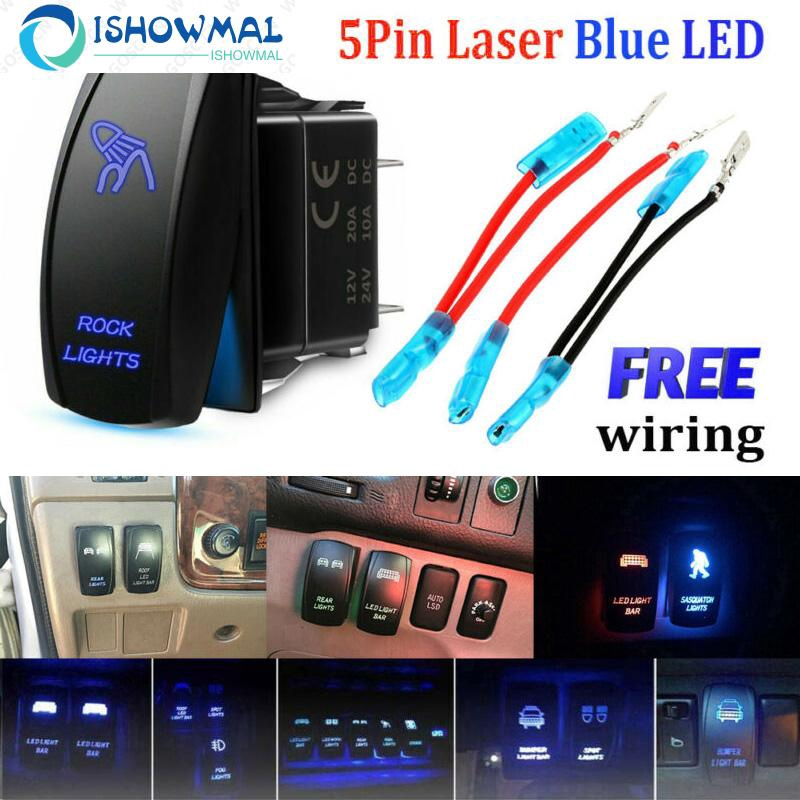 5 Pins ABS Autos Blue Laser Rocker Switch 24V Backlit Car LED Light Bar On//Off