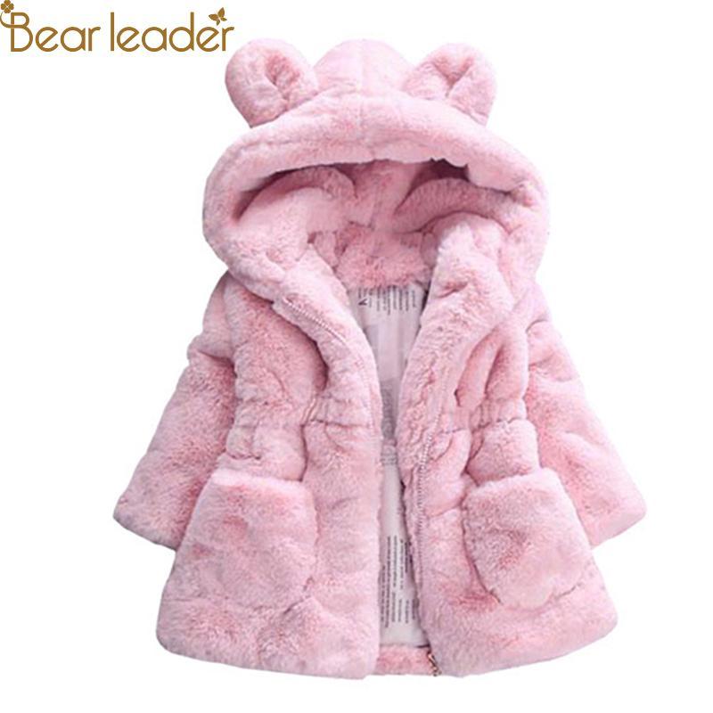 Bear Leader Jaket Anak Perempuan Hoodie Telinga Kelinci Lengan Panjang Aksen Saku Bahan Tebal Hangat