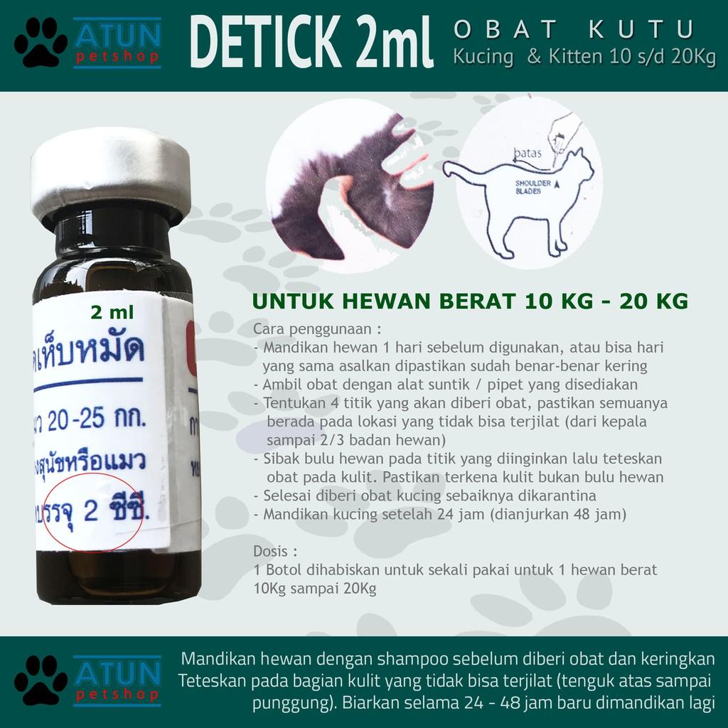 Obat Kutu Hewan Tetes Detick 2 Ml Untuk Berat 10 20kg Atun Petshop Shopee Indonesia