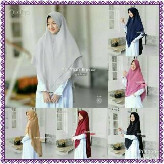 Halimah Khimar Ori Audina 2 Layer Syari Murah Hijab Instan Bahan
