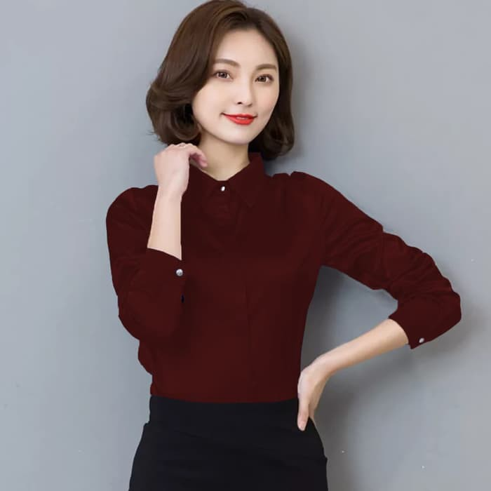 AUNI Okechuku Kemeja Pakaian Kerja Wanita Gaya Korea Tangan Panjang