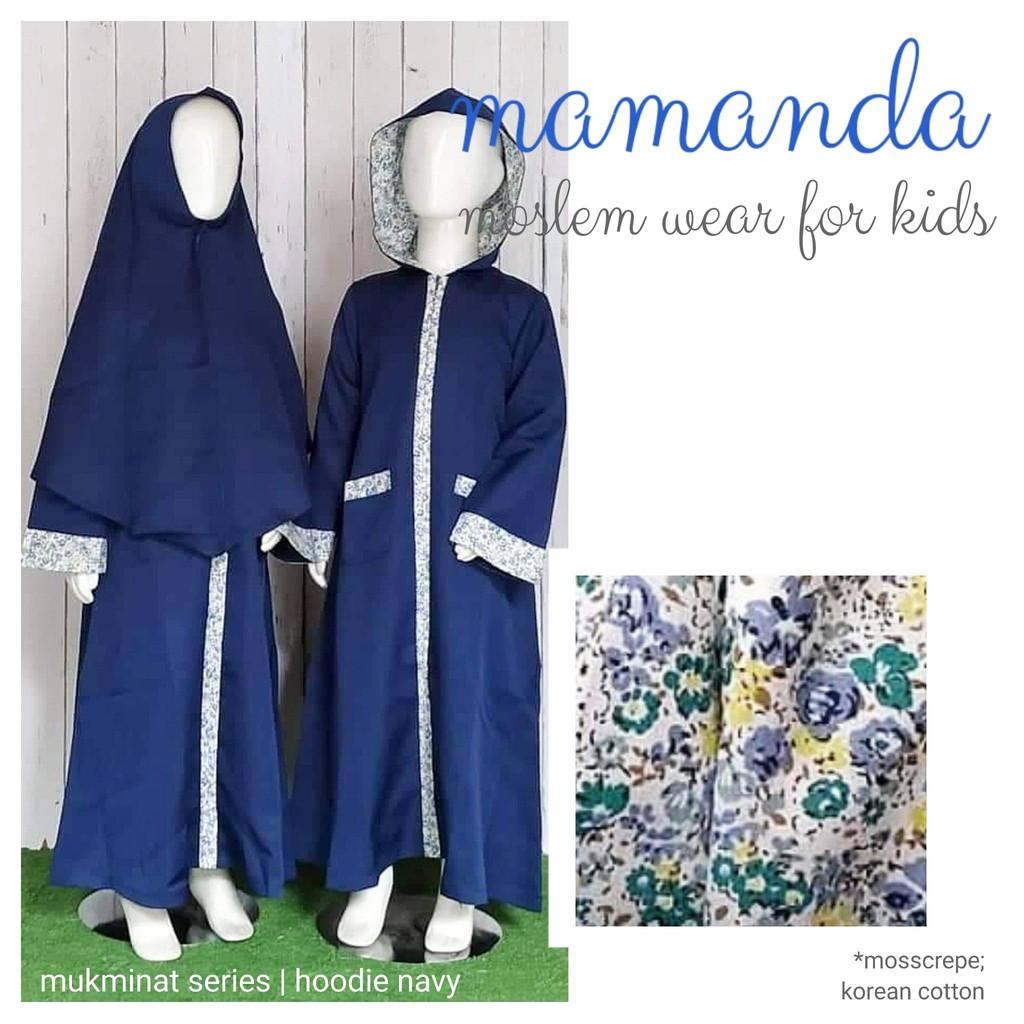 Gamis Anak Hoodie Navy Mukminat Series by Mamanda