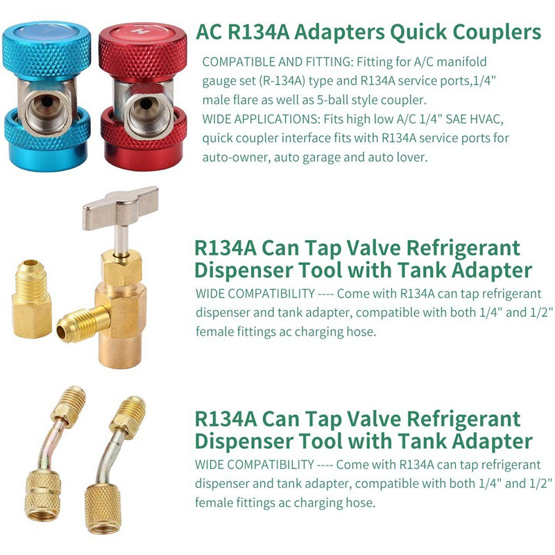 """A//C R134a Quick Couplers 1//2/"""" SAE Male Flare Connector Adaptor Pair"""